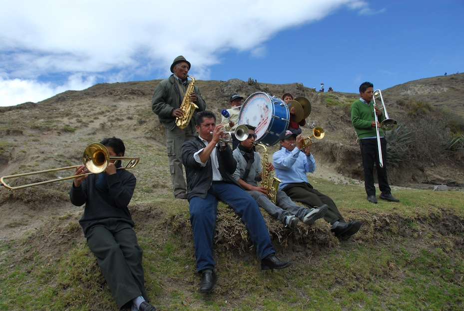 band on hillside